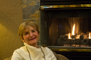 Ann Lyons relaxes at the lodge after a fantastic day of skiing