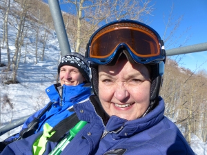 Karrie Frantz and Karen Bareiss on the way up Park City Mountain Resort