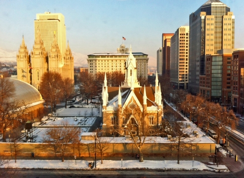 Temple Square in Salt Lake City at Sunset, Saturday, January 19, 2013