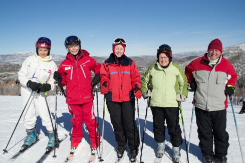 Ann Lyons, Instructor Jan Zinn, Lonna Petrie, Kathryn Brown, and Jim Petrie at the start of Wednesday's lesson.