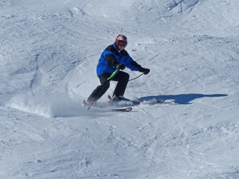 Jim Broderick conquering moguls on Monday morning.