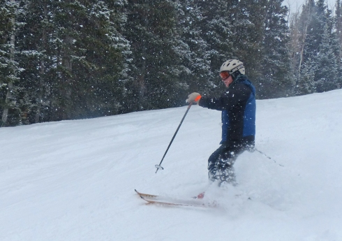 Craig Moyer skiing in Thursday's snow
